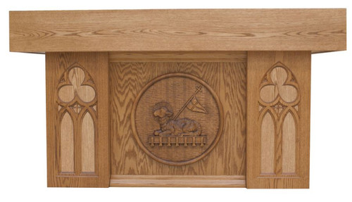 #40 Paschal Lamb Altar of Sacrifice with Marble Insets | Oak | Multiple Finishes Available