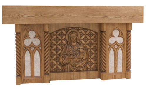 #40 Sacred Heart Altar of Sacrifice with Marble Insets | Oak | Multiple Finishes Available