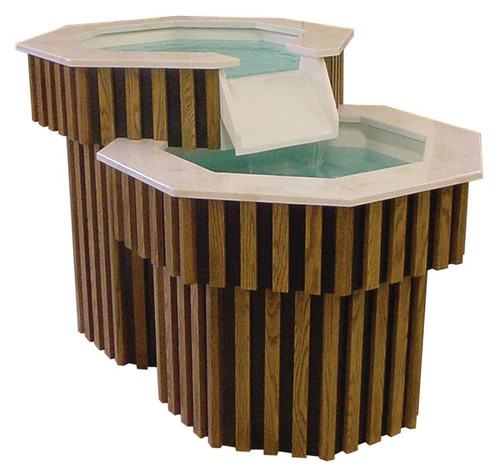 #100 Two-Tier, Living Water Baptismal Font | Oak | Multiple Finishes Available