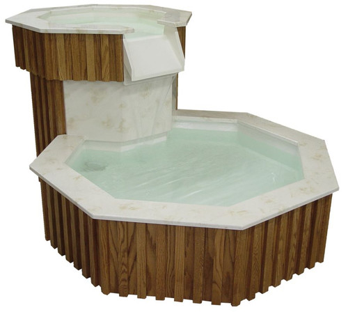 #100 Two-Tier, Living Water Baptismal Font with Marble Tops | Oak | Multiple Finishes Available