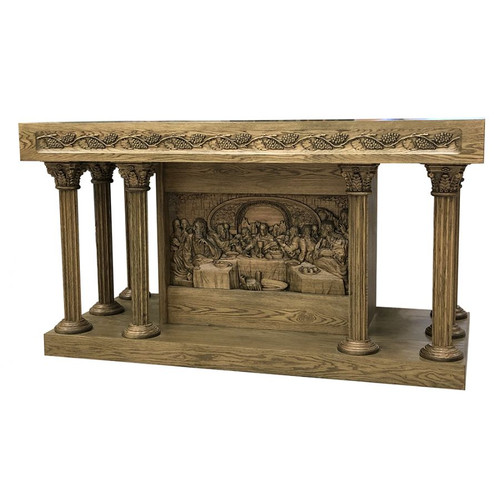 #49 Last Supper Altar of Sacrifice with Carved Grape & Leave Top | Oak | Multiple Finishes Available