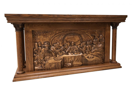 Large Carved Last Supper Altar of Sacrifice  | Oak | Multiple Finishes Available