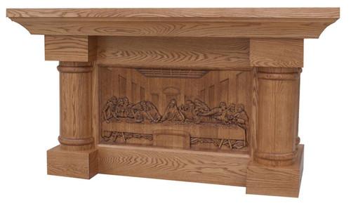 #120 Carved Last Supper Altar of Sacrifice | Oak | Multiple Finishes Available