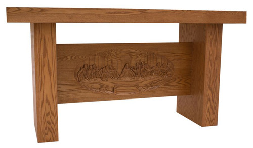 #240 Altar of Sacrifice with Carved Last Supper | Oak | Multiple Finishes Available
