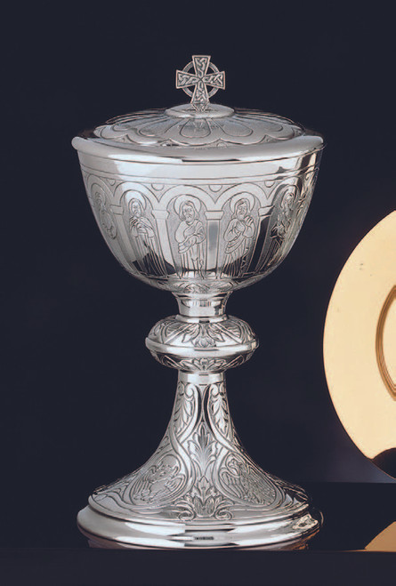 "#1000-01 Apostles Ciborium | 9 1/4"", 250 Hosts | Sterling Silver | 24K Gold Lined"