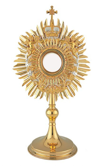 #10-406 Baroque Angel Monstrance | 24K Gold & Silver-Plated