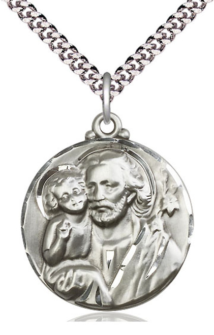 "Large Saint Joseph Sterling Silver Pendant | 24"" Endless Chain"