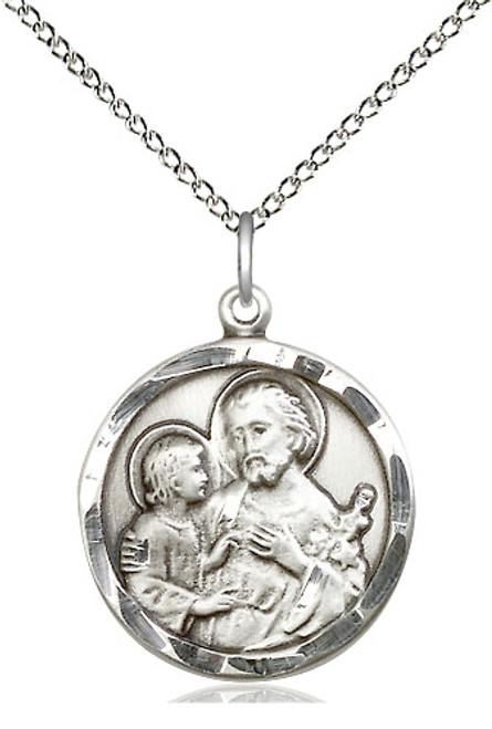 "Saint Joseph Sterling Silver Pendant | 18"" Chain"