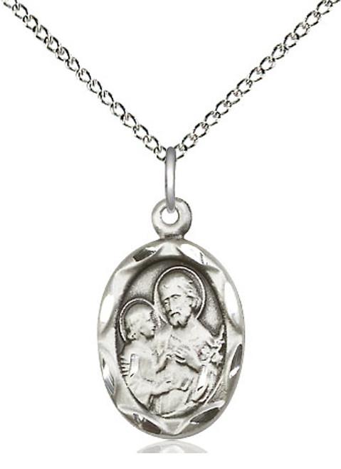 "Saint Joseph Oval Sterling Silver Pendant | 18"" Chain"