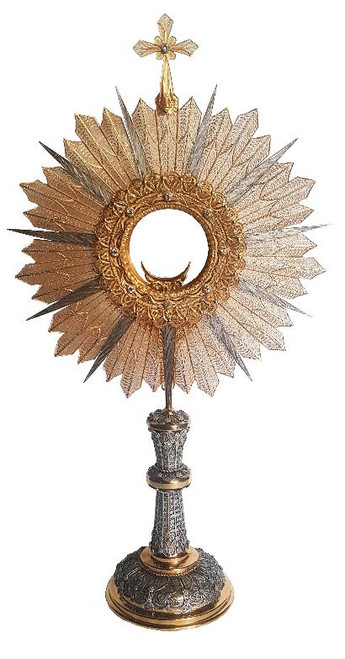 #1574 Sterling Silver Filigree Monstrance with Stones   Sterling Silver & Gold Plated   Handmade in Italy