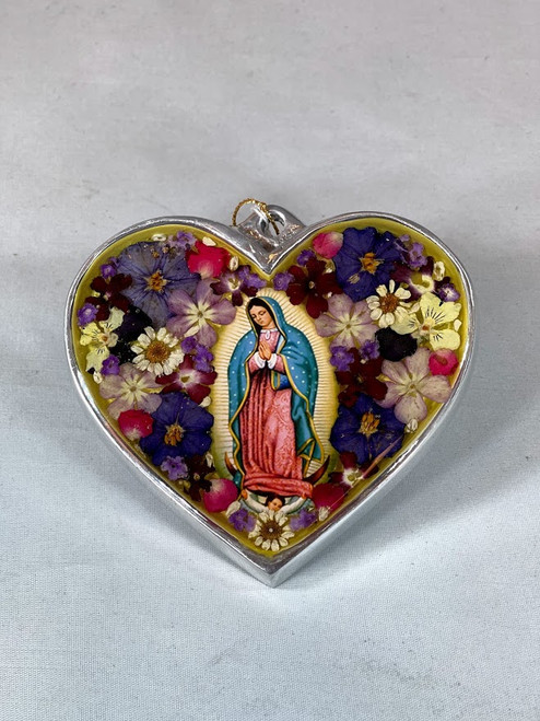 """4"""" Pressed Flower Our Lady of Guadalupe Heart 