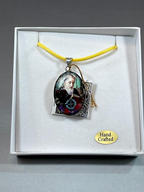 Saint Benedict Pressed Flower Pendant | Handmade In Mexico