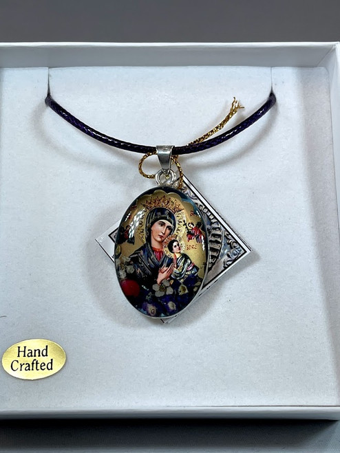 Our Lady of Perpetual Help Pressed Flower Pendant | Handmade In Mexico