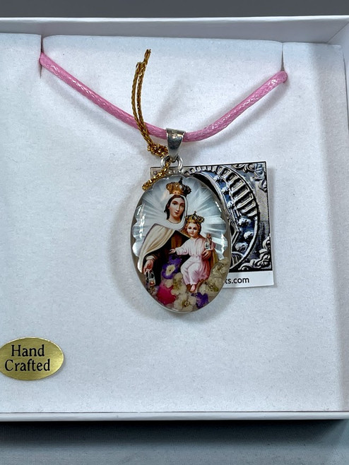 Our Lady of Mount Carmel Pressed Flower Pendant | Handmade In Mexico