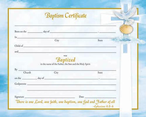 Inspirational Ephesians 4 Baptism Certificates   Box of 50