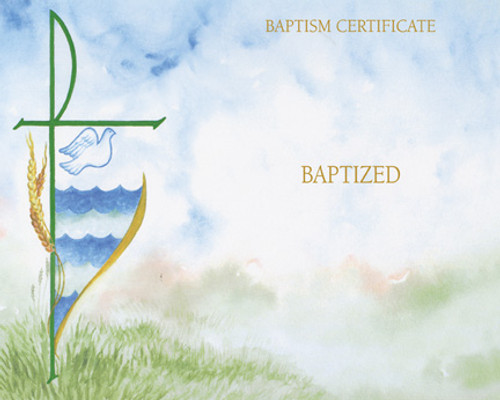 Blank Watercolor Baptism Certificates   Box of 50