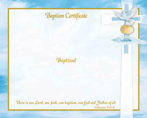 Blank Inspirational Ephesians 4 Baptism Certificates   Box of 50
