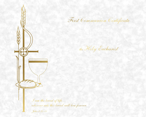 Blank Traditional First Communion Certificates   Box of 50