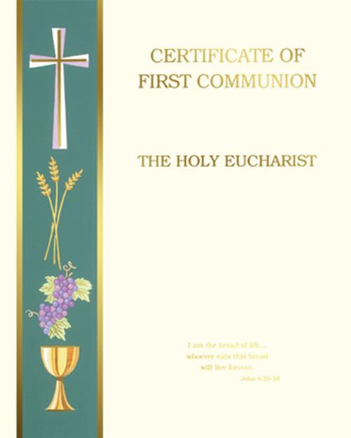 Blank Banner John 6 First Communion Certificates   Box of 50