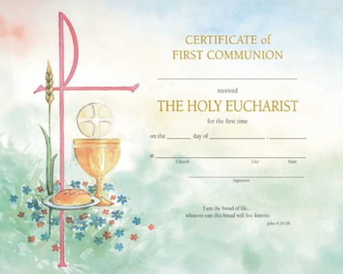 Watercolor John 6 First Communion Certificates   Box of 50