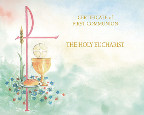 Blank Watercolor First Communion Certificates   Box of 50