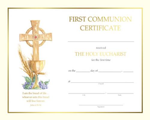 Spiritual John 6 First Communion Certificates   Box of 50