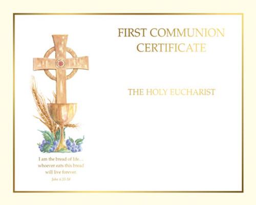 Blank Spiritual John 6 First Communion Certificates   Box of 50