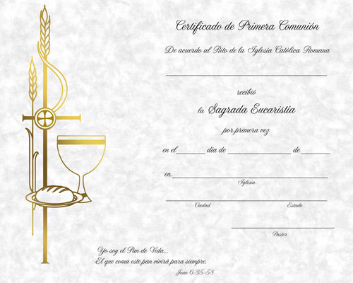 Traditional Spanish First Communion Certificates   Box of 50