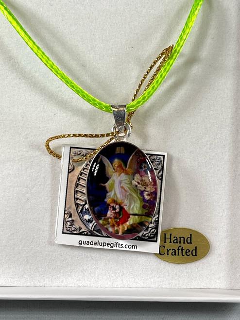 "1"" Guardian Angel Pressed Flower Pendant | Handmade In Mexico"
