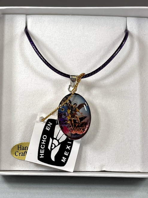 "1"" Saint Michael Pressed Flower Pendant | Handmade In Mexico"