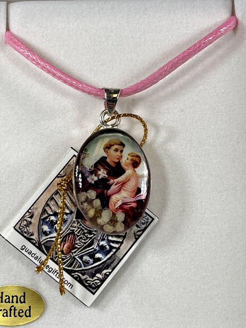 "1"" Saint Anthony Pressed Flower Pendant   Handmade In Mexico"