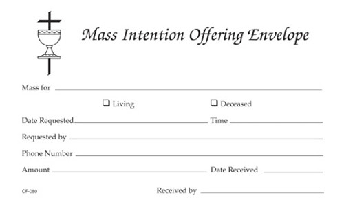 Mass Intention Offering Envelope | Pack of 100