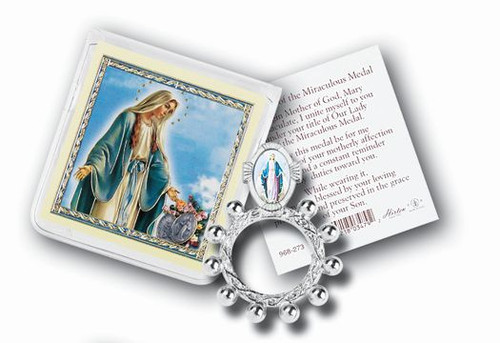 Our Lady of Grace Rosary Ring & Prayer Card