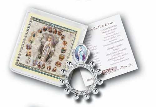 Mysteries of the Holy Rosary Rosary Ring & Prayer Card