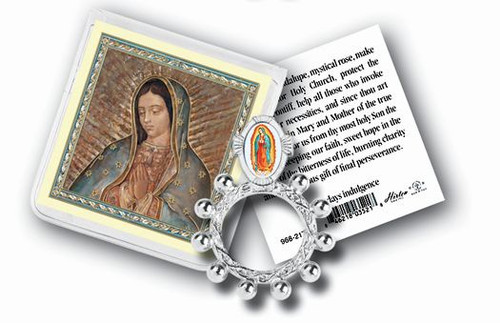 Our Lady of Guadalupe Rosary Ring & Prayer Card