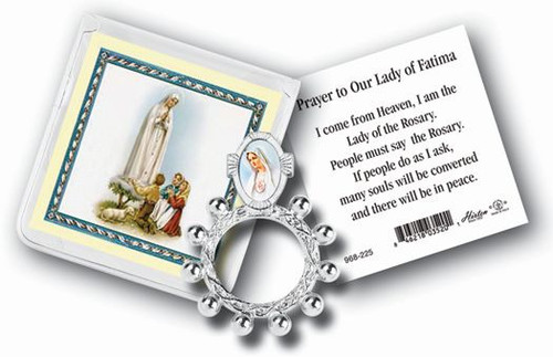 Our Lady of Fatima Rosary Ring & Prayer Card