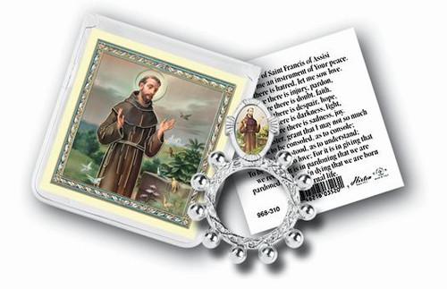 St. Francis of Assisi Rosary Ring & Prayer Card