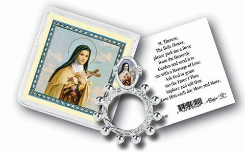 St. Therese Rosary Ring & Prayer Card
