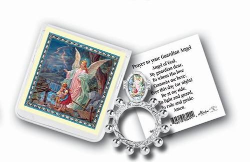 Guardian Angel Rosary Ring & Prayer Card