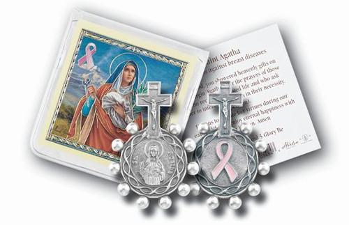 St. Agatha Breast Cancer Rosary Ring & Prayer Card