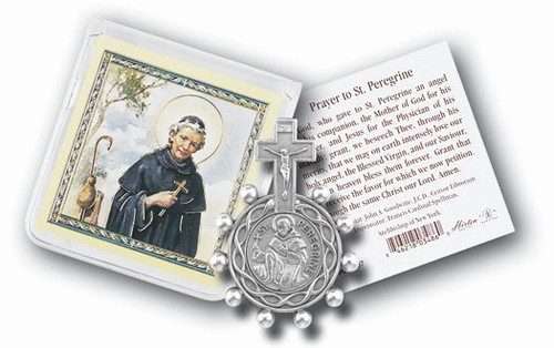 St. Peregrine Cancer Rosary Ring & Prayer Card