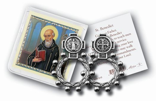 St. Benedict Rosary Ring & Prayer Card