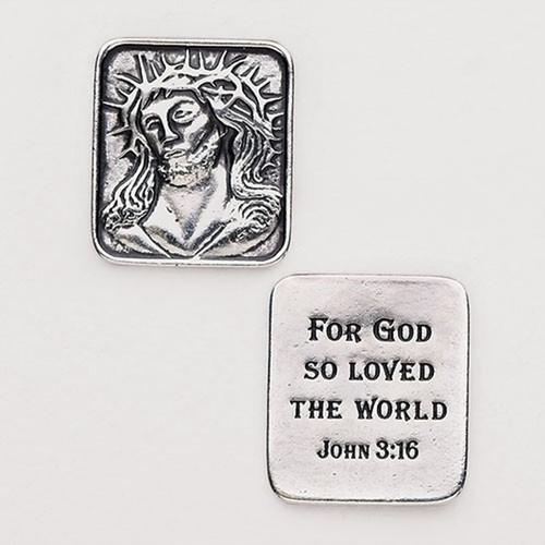 John 3:16 Face of Christ Pocket Token