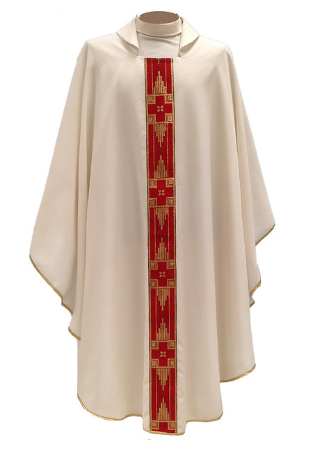 #513 Embroidered Gold Band Chasuble   Square Collar   100% Poly   All Colors
