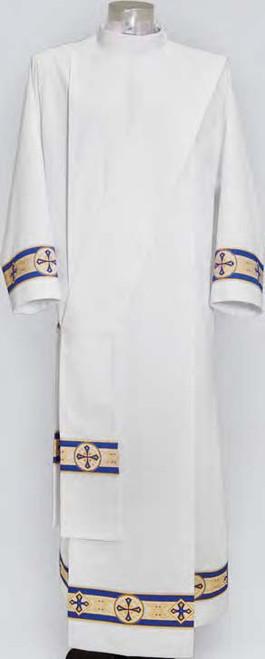 #825 Lightweight Marian Blue Banded Alb | Shoulder Zipper | 100% Poly