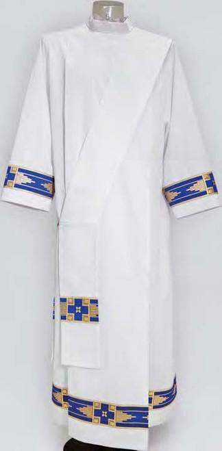 #513 Lightweight Marian Blue Banded Alb | Shoulder Zipper | Poly/Cotton