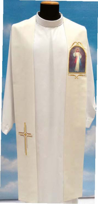 #342 Printed Divine Mercy Overlay Stole | 100% Poly