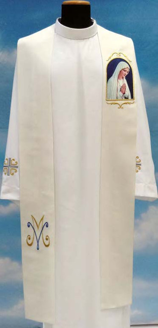 #343 Printed Praying Marian Overlay Stole | 100% Poly