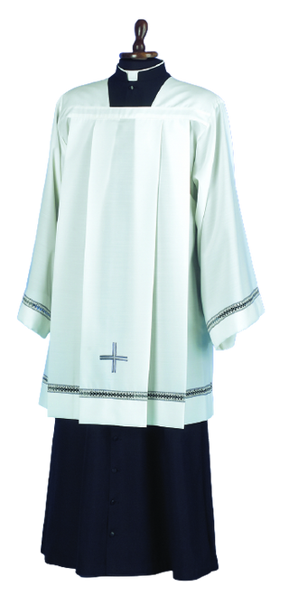 #989P Embroidered Cross Surplice | Mixed Wool