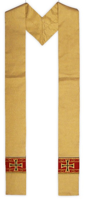 #823 Gold Cross Pattee Overlay Stole | Wool/Poly/Gold Thread